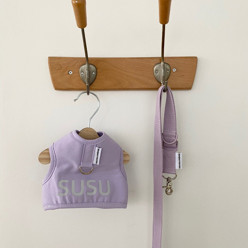 ※予約販売【Bonjour TOU-TOU】NAME CUSTUM HARNESS & LEAD (SET)(ラベンダー)