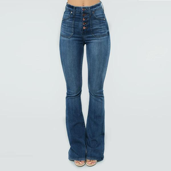 70s High Rise Stretchy Buttons Bell Bottom Jeans