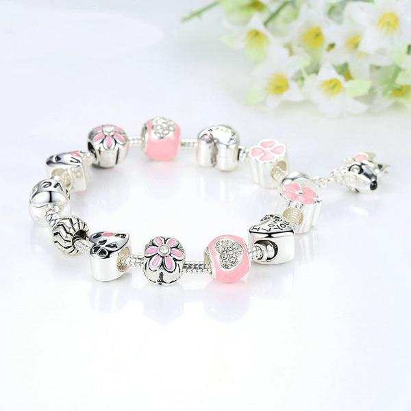 Lovely Dog Crystal Charm Bracelet