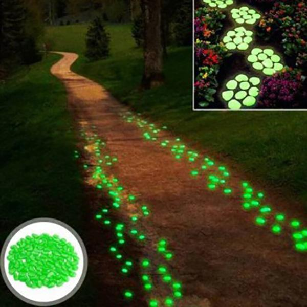 Glow-In-The-Dark Luminous Garden Pebbles (100 Pcs)