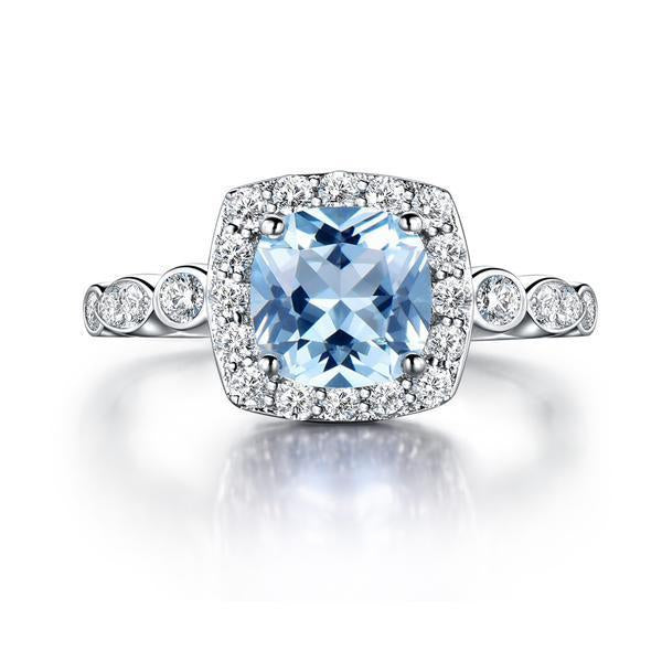 Halo Aquamarine Topaz Ring