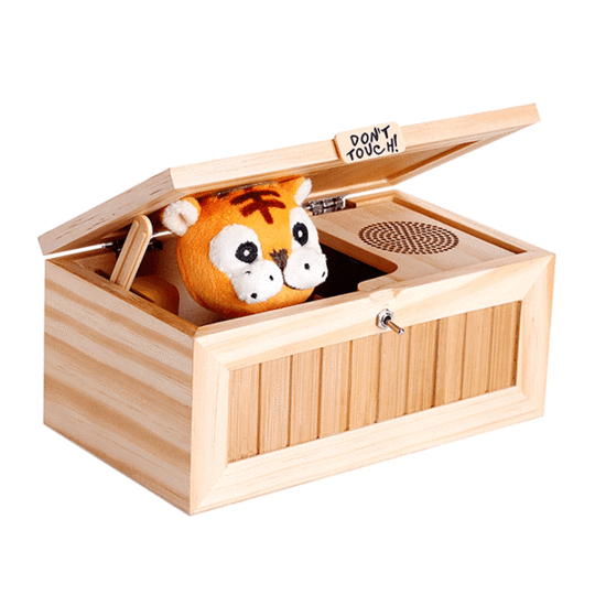 """Don't Touch!"" Wooden Useless Box - funny toy gift idea"