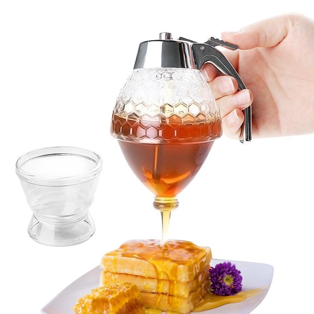 Elegant Crystal Honey Dispenser and Warmer Set