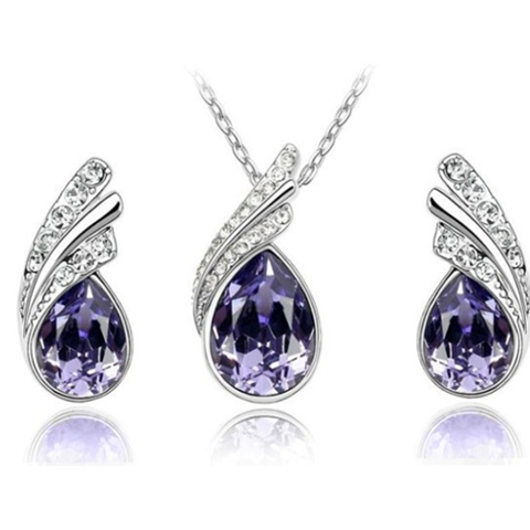 Angel Tear Drop Austrian Crystal Pendant & Earring Set Purple