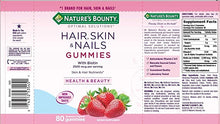 Carregar imagem no visualizador da galeria, NATURE'S BOUNTY HAIR SKIN NAILS - 80 GOMAS (MORANGO)