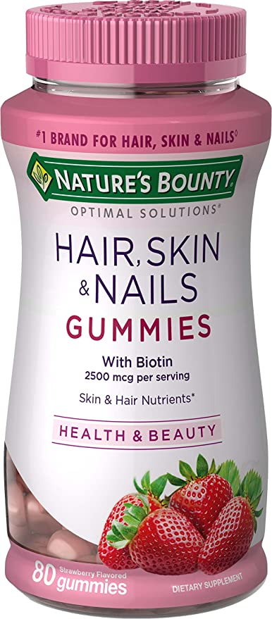 NATURE'S BOUNTY HAIR SKIN NAILS - 80 GOMAS (MORANGO)
