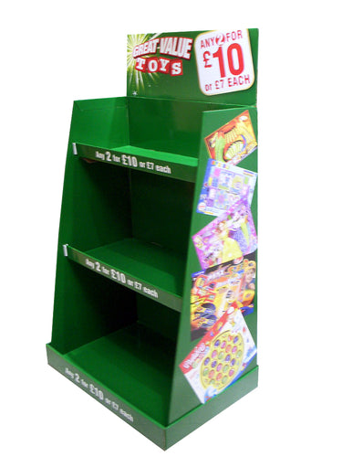 Cardboard Toy Floor Display with 3 Tiers, Removable Header and Full Color