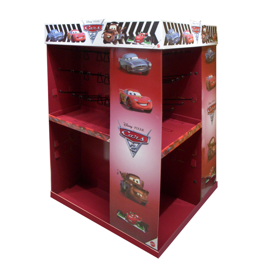 Cardboard Pallet Display, 4 Sides with aside-banner, Header crown, Adjustable Shelves and Metal Peg Hooks