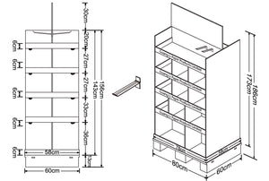Cardboard Pallet Shelves Display, 2 Sides, Removable Header, Adjustable Partitions, Plastic Peg Hooks