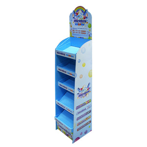 Cardboard Display for Floor, 5 Tiers, Removable Header - Full Color