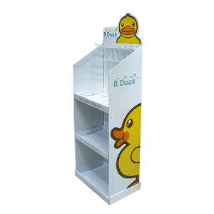Cardboard Display for Floor, 3 Tiers, 10 hooks, Removable Header - Full Colour
