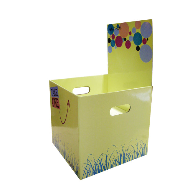 Cardboard Dump Bin for Floor, Removable Header, Handle