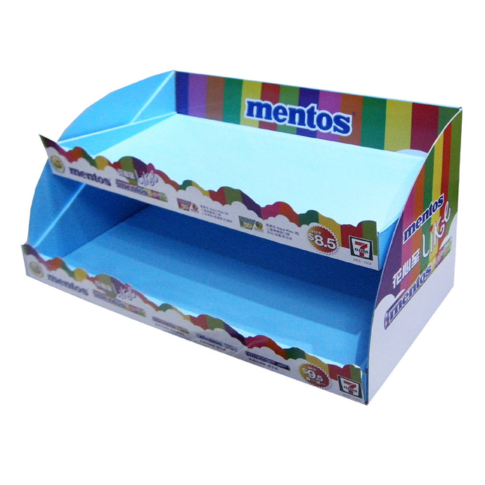 Cardboard Candy Countertop Display with die cut shelf talker,  2 Tiers