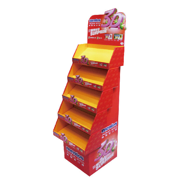 Floor standing Cardboard Display with 5 Shelves, Removable Header - Full Colour
