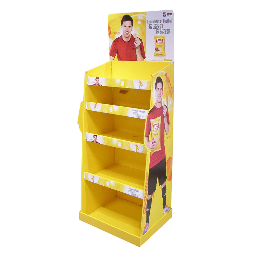 Cardboard Display for Floor, 5 Tiers, Removable Header - Full Colour