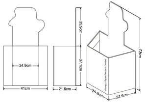 Cardboard Dump Bin for Floor, Header, Pentagon