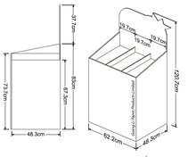 Cardboard Dump Bin for Floor, Removable Header, 3 Tiers