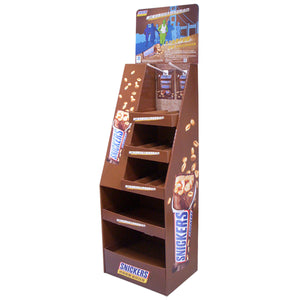 Cardboard Display for Floor, 5 Tiers, 2 hooks, Removable Header - Full Colour