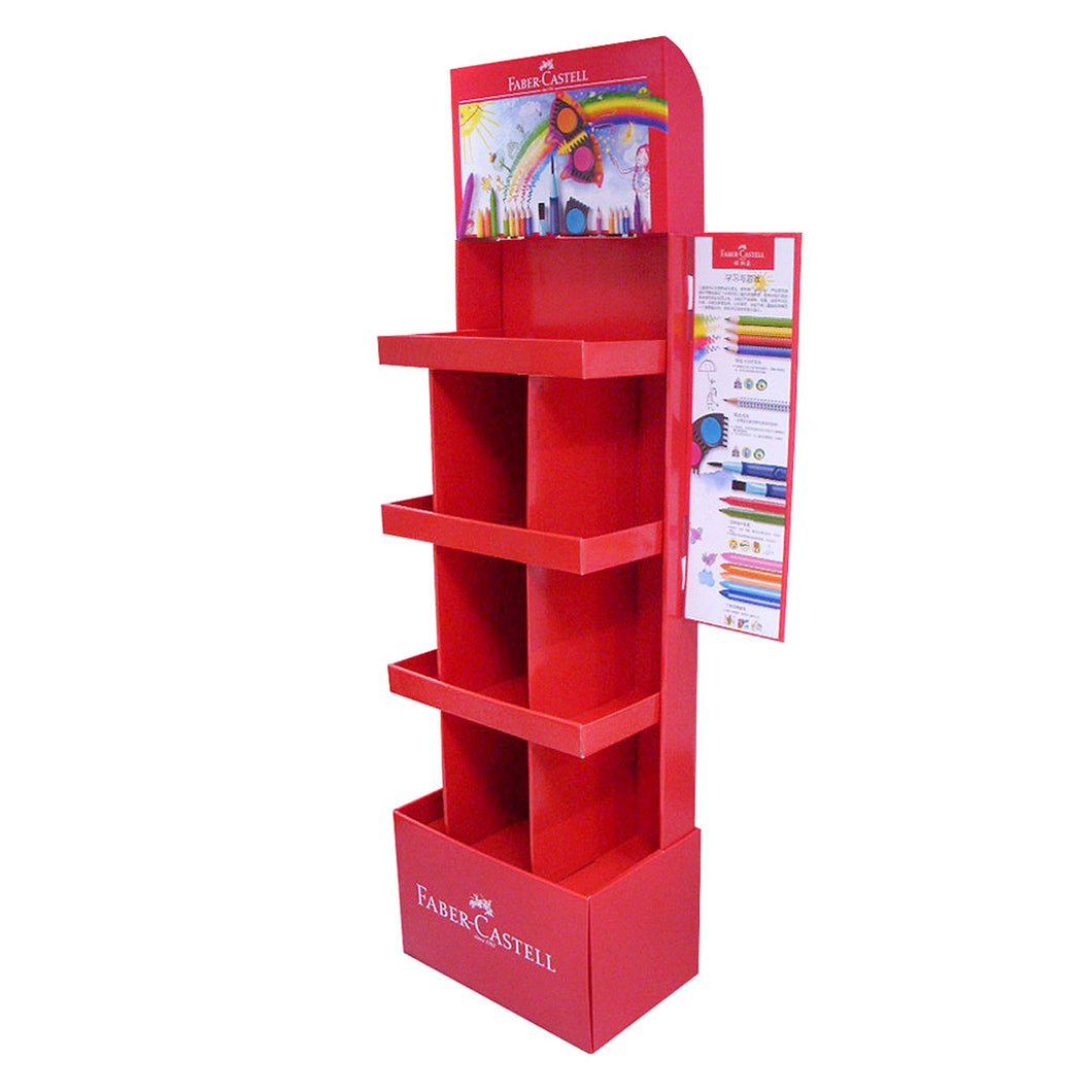 Cardboard Display for Floor, 4 Tiers, 9 Partitions, Removable Header - Full Colour