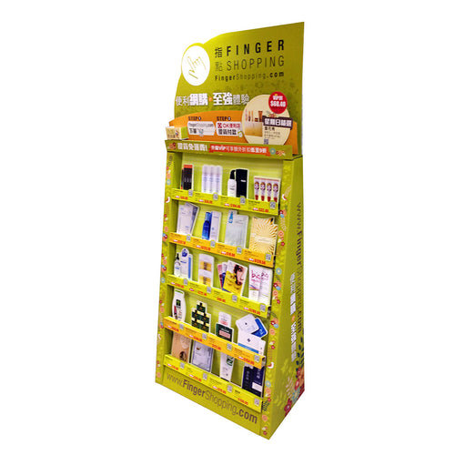 Cardboard Display for Demo products, 5 Tiers, Removable Header - Full Colour