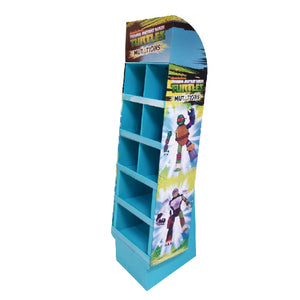 Cardboard Display for Floor in toy store, 5 Tiers, 8 Partitions, Removable Header - Full Colour