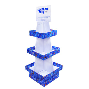 Floor standing Cardboard Display with 3 Shelves, 4 Sided, Removable Header - Single Colour
