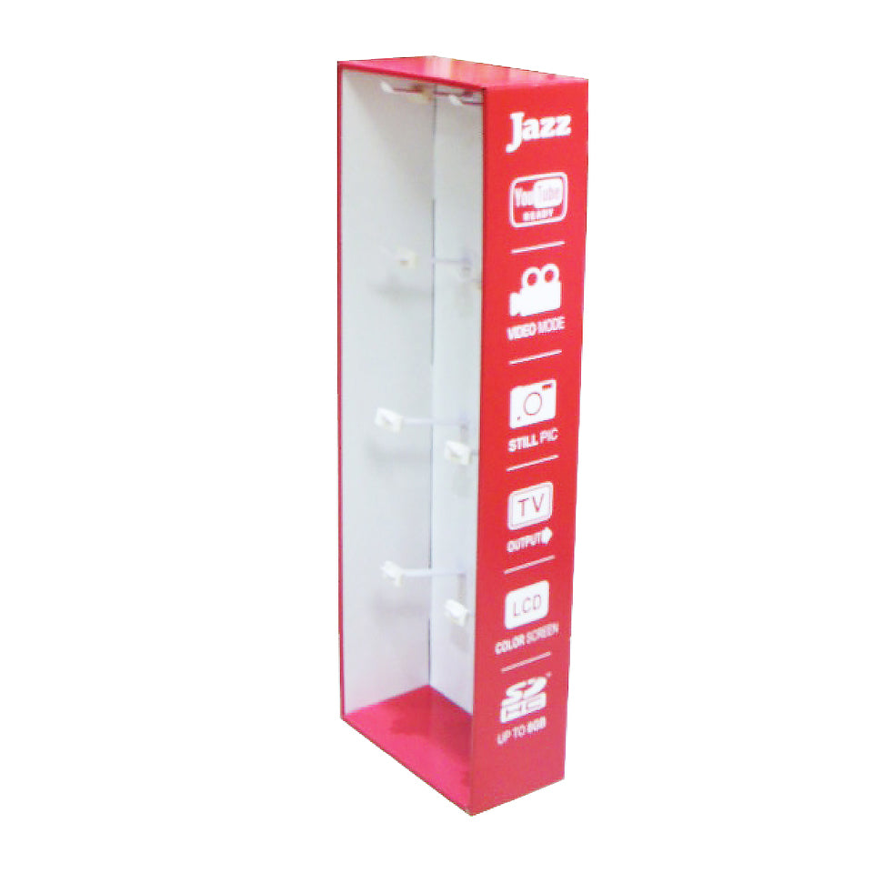 Cardboard Blister Pack Display, 8 Pegs, Without Header - Red