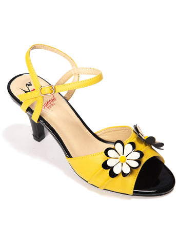 Banned Dazed Blossom 50's Pumps Mosterd Zwart