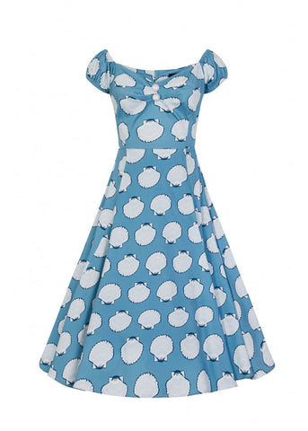 Collectif Dolores Seashell 50's Swing Jurk Blauw