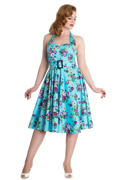 Hell Bunny May Day 50's Swing Halterjurk Blauw