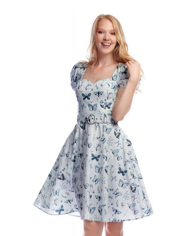 Collectif Paisley Butterfly 50's Swing Jurk Blauw
