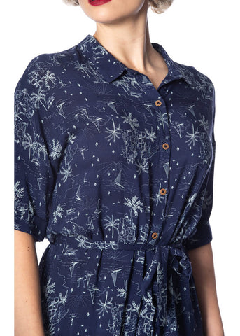 Banned Santorini Dreams 60's Shirt Jurk Navy