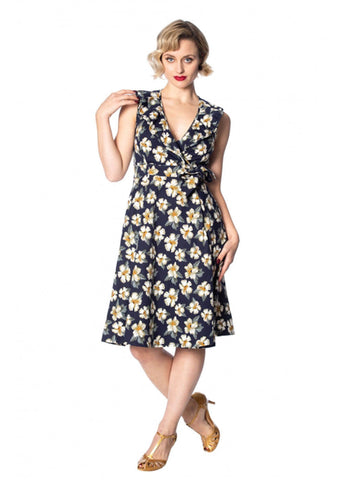 Banned Beach Babe 50's Swing Jurk Navy
