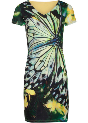 Smashed Lemon Wings Of A Butterfly 60's Pencil Jurk Geel Groen
