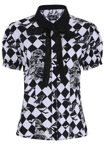 Hell Bunny Hauntley 60's Blouse Zwart