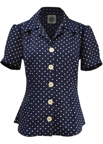 Pretty Retro Polkadot Classic 40's Blouse Navy
