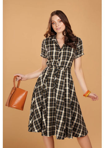 Collectif Caterina Geek Check 40's Swing Jurk Zwart