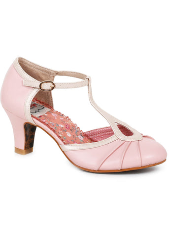 Bettie Page Eris Metallic Detail 20's Pumps Roze