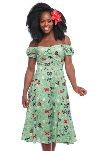 Collectif Dolores Butterfly 50 Swing Jurk Groen