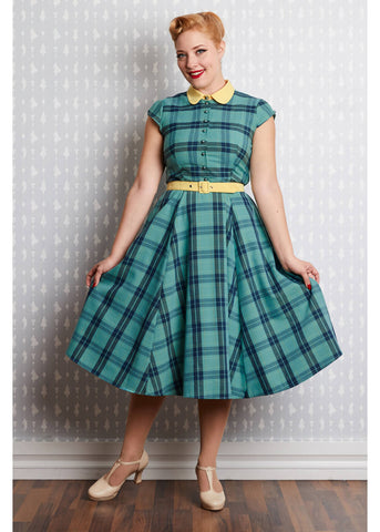 Miss Candyfloss Willow Tartan 40's Swing Jurk Mint