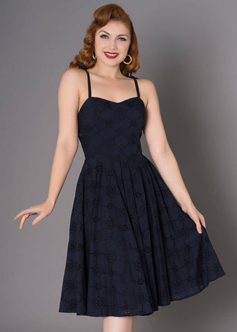 Sheen Ola Anglais 50's Swing Jurk Navy