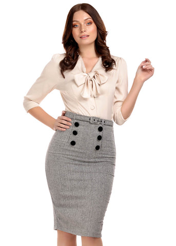 Collectif Agatha Herringbone 50's Pencil Rok Zwart Wit