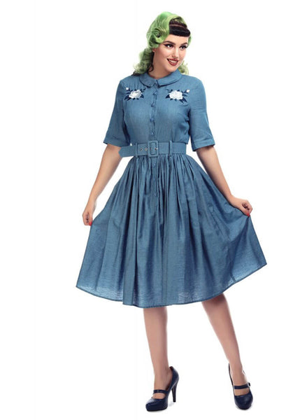Collectif Aria Western Rose 50's Swing Jurk Blauw