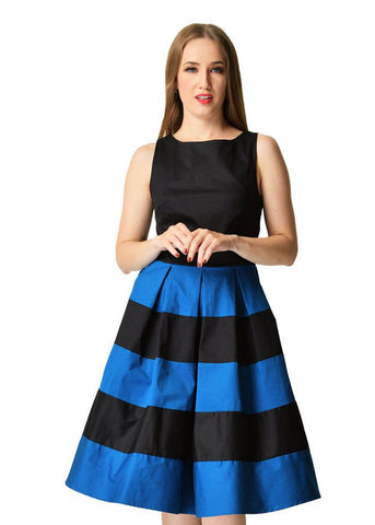 Dolly & Dotty Anna Striped 50's Swing Jurk Zwart Blauw