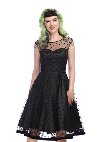Collectif Faye Polka Flock 50's Swing Jurk Zwart