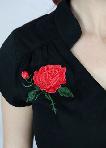 Sheen Khrystine Rose 50's Blouse Zwart