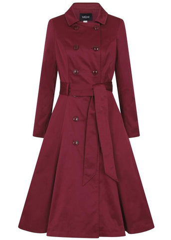 Collectif Korrina 50's Swing Trenchcoat Jas Burgundy