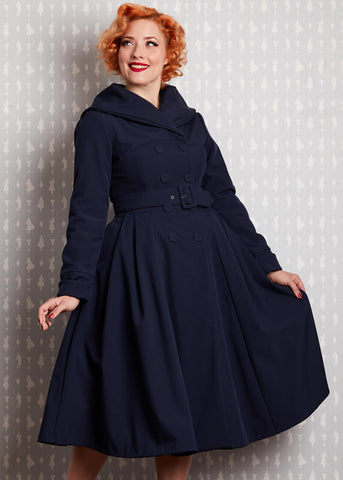 Miss Candyfloss Myriam Lee Waterafstotende 50's Swing Jas Navy