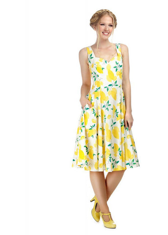Collectif Cecilia Lemons 50's Swing Jurk Wit