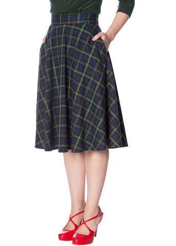 Banned Tartan Dreams 40's Swing Rok Groen